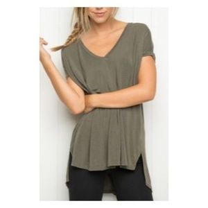 Brandy Melville Army Green V-neck Tee